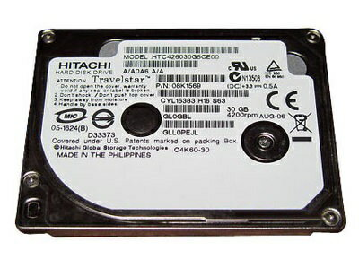 【新品 1.8インチ HDD】HGST Travelstar C4K60 HTC426030G5CE0030GB 4200rpm 2MBキャッシュ ZIFコネクタ