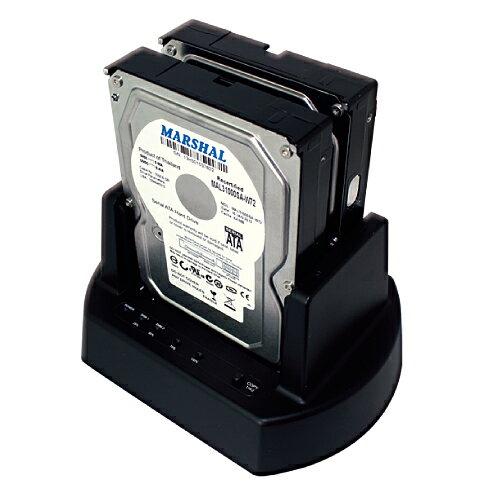 【箱つぶれ】MARSHAL MAL-5135SBKU3大容量ハードディスク10TB対応2.5/3.5インチSATA両対応クローンHDDスタンド ブラックメーカー保証付き
