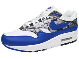 "ナイキ エア マックス1 アトモス 白青 NIKE AIR MAX 1 PRNT ""WE LOVE NIKE PACK"" atmos WHITE/GAME ROYAL BLUE"
