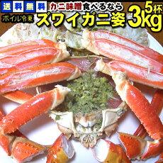 【送料無料】カニ味噌たっぷり!価格とことん頑張ります!ボイルずわい蟹姿3kg(5尾)大満足の六人前。お客様のもてなし料理にも。一年中美味しい蟹をお届けします!かにカニ蟹ズワイガニカニ3kg