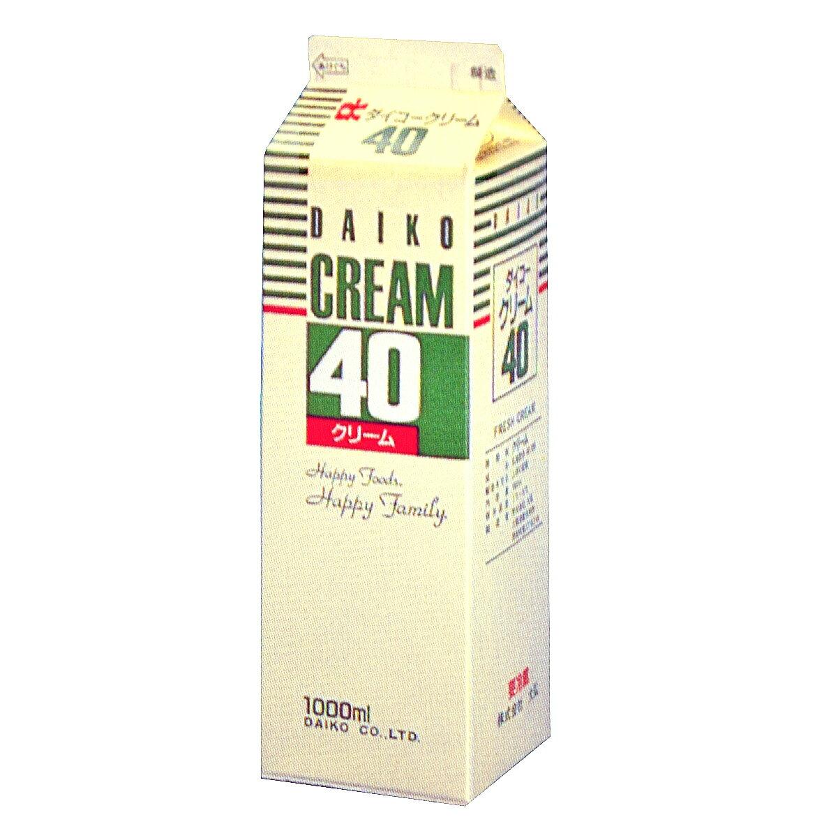 【注文後取り寄せ商品】【生クリーム】ダイコークリーム40(乳脂肪分40%) 1L