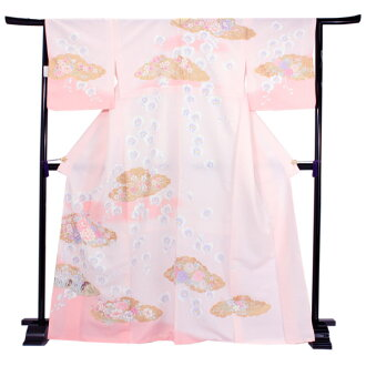 Washable kimono visiting dress adjustable size newly made one piece of article pink shading off orchid cloud bush clover chrysanthemum lattice pattern size grain size washable Lady's woman kimono kimono new article ほうもんぎ フォーマルプレタポリエステル KZ tk straw in Jap