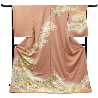 It is a floral design] new article color sale purchase formal dress married party joke visiting dress of the four seasons to visiting dress pure silk fabrics non-sewing temporary putting design on kimono astringent juice salmon pink place running water