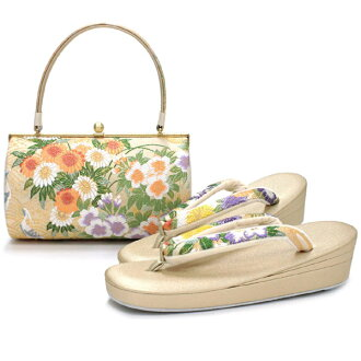 Product made in flower modern barrel three pieces core sandals back woman Japanese binding kimono kimono pearl tone 加工撥水速乾防 mold Japan tk フニ of the beige gold four seasons for the sandals bag set Nishijin brocade pure silk fabrics Lady's four circle larg