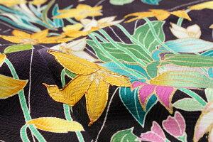 正絹訪問着仕立上りフリーサイズ濃紫地水仙すみれ水辺の花結婚式や七五三などフォーマルな礼装着物送料無料urニフ