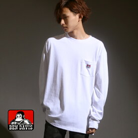 BEN DAVIS Tシャツ メンズ 秋 無地 長袖 ポケット 付き ホワイト/ブラック/キャメル/オレンジ/グリーン/パープル M/L/XL