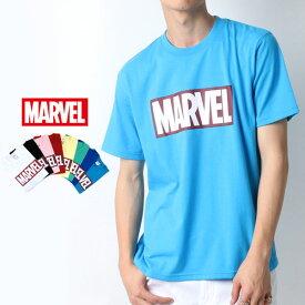 MARVEL Tシャツ メンズ 夏 ボックス ロゴ プリント 半袖 ホワイト/ブラック/ピンク/レッド/イエロー/グリーン/ブルー/ターコイズ M/L/LL