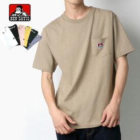 BEN DAVIS Tシャツ メンズ 夏 無地 半袖 ポケット 付き ホワイト/ブラック/ピンク/イエロー/グリーン/ラベンダー/ベージュ M/L/XL