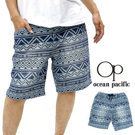 OCEAN PACIFIC ハーフパンツ メンズ 夏 ストレッチ デニム ネイティブ プリント ネイビー M/L/LL