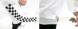 Tシャツメンズ春ロング丈タンクトップ袖プリントレイヤードネックレス付きセットホワイト/ブラックM/L/LL【マルカワ長袖カジュアル】
