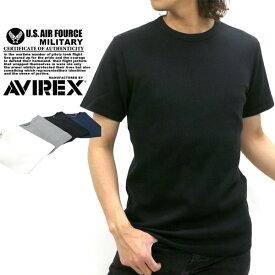 AVIREX Tシャツ メンズ 夏 サーマル 無地 半袖 ホワイト/グレー/ブラック/ネイビー S/M/L/XL