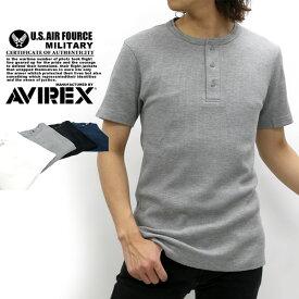 AVIREX Tシャツ メンズ 夏 サーマル ヘンリーネック 無地 半袖 ホワイト/グレー/ブラック/ネイビー S/M/L/XL