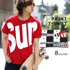 Tシャツ メンズ 夏 スプラッシュ プリント 半袖 ホワイト/ブラック/レッド M/L/LL