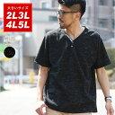 Tシャツ ヘンリーネック 大きいサイズ メンズ 夏 半袖 グレー/ブラック 2L/3L/4L/5L