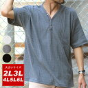 Tシャツ ヘンリーネック 大きいサイズ メンズ 夏 半袖 ホワイト/チャコール/ブラック 2L/3L/4L/5L/6L