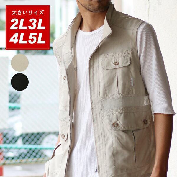 KANGOL ベスト メッシュ 大きいサイズ メンズ 春 夏 ジップ ポケット ブラック/ベージュ 2L/3L/4L/5L
