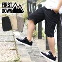 FIRST DOWN ハーフパンツ メンズ 夏 無地 ベンチレーション付き ブラック/ベージュ/カーキ M/L/LL