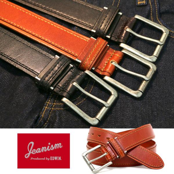 JEANISM produced by EDWIN ベルト メンズ 夏 牛革 ブラック/ブラウン 最大103.5cm