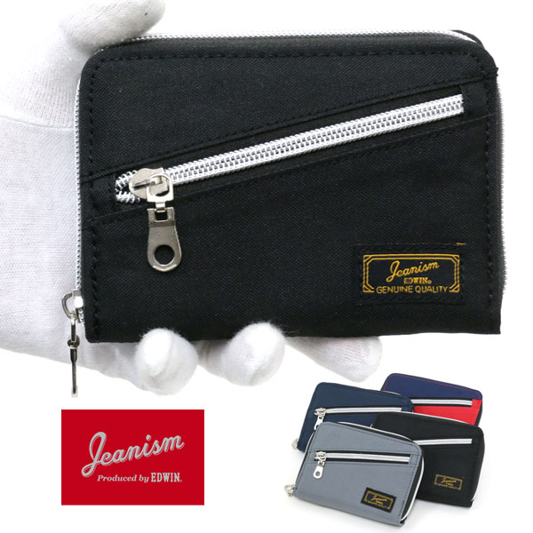 JEANISM EDWIN 二つ折り財布 メンズ 冬 ラウンドファスナー グレー/ブラック/レッド/ネイビー