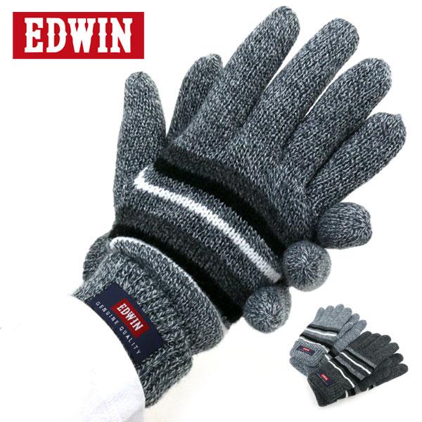 EDWIN 手袋 メンズ 裏フリース 冬 アクリル100% グレー