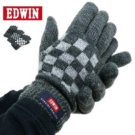 全品送料無料 EDWIN 手袋 メンズ 裏フリース 冬 アクリル100% ホワイト/グレー/ブラック