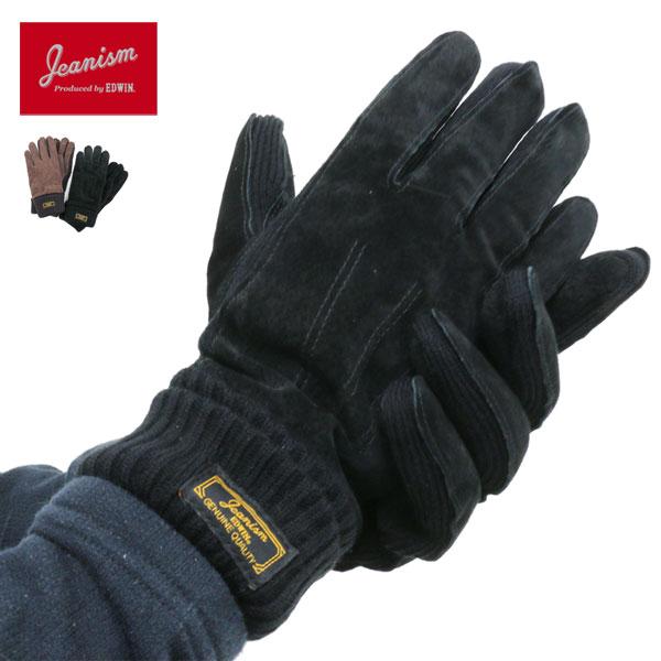 JEANISM EDWIN 手袋 メンズ 裏ボア 冬 革 アクリル100% ブラック/ブラウン