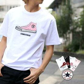 コンバース Tシャツ メンズ 夏 シューズ サガラ 刺繍 半袖 ホワイト/ブラック/ピンク M/L/LL