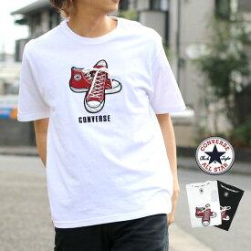 コンバース Tシャツ メンズ 夏 シューズ 刺繍 半袖 ホワイト/ブラック M/L/LL