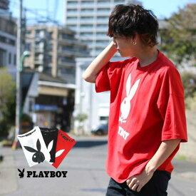 プレイボーイ Tシャツ メンズ 夏 ロゴ プリント ビッグ シルエット 半袖 ホワイト/ブラック/レッド M/L/XL