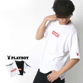 プレイボーイ Tシャツ メンズ 夏 ボックス ロゴ プリント 半袖 ホワイト/ブラック M/L