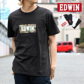 EDWIN Tシャツ メンズ 夏 ボックス ロゴ プリント 半袖 ホワイト/ブラック/ネイビー M/L/XL