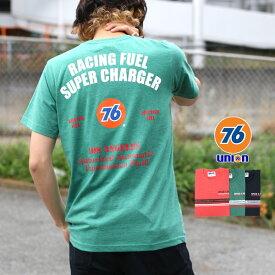 76Lubricants Tシャツ メンズ 夏 パネル プリント 半袖 レッド/グリーン/ネイビー M/L/LL