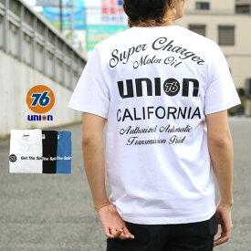 76Lubricants Tシャツ メンズ 夏 ユニオン プリント 半袖 ホワイト/ブラック/ブルー M/L/LL