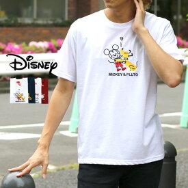ディズニー Tシャツ メンズ 夏 キャラクター 刺繍 半袖 ホワイト/レッド/ネイビー M/L/LL