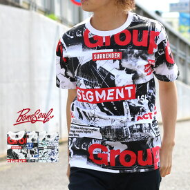B ONE SOUL Tシャツ メンズ 夏 総柄 プリント 半袖 ホワイト M/L/XL