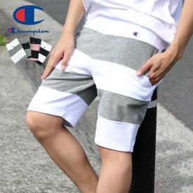 全品送料無料 チャンピオン ハーフパンツ メンズ 夏 パイル ボーダー ショートパンツ ホワイト/グレー/ピンク/ネイビー M/L/XL C3-P516