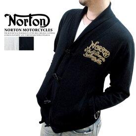 全品送料無料 NORTON MOTORCYCLES ノートン #33N1208 〜裏毛素材〜 圧巻のチェーン刺繍 トグルボタンのショールカーディガン