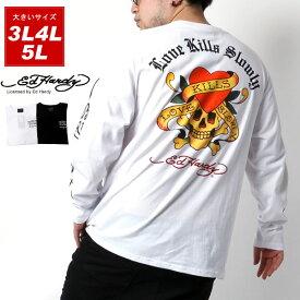 全品送料無料 Ed Hardy Tシャツ 大きいサイズ メンズ 秋 ドクロ ハート プリント 長袖 ホワイト/ブラック 3L/4L/5L
