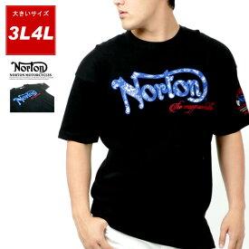 全品送料無料 NORTON Tシャツ 大きいサイズ メンズ 夏 ロゴ 刺繍 ビッグ シルエット 半袖 ブラック 3L/4L