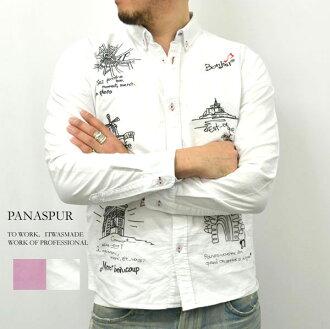 PANASPUR / panasphl 牛津材料 2 顏色塗鴉風格繡花長袖襯衫 [中性和休閒/街道 / 智慧 / 可愛 / 藍色 /