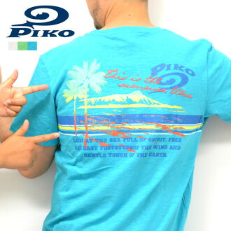 "PIKO 皮板棉全顏色 ! ""夏威夷 × 海灘""面板邊框短袖 T 恤"