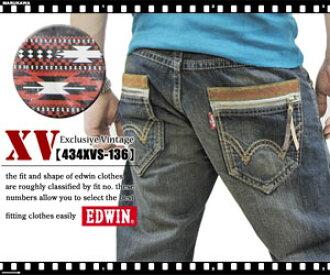 Exclusive Vintage XV EDWIN ekusukurushibuvintejiekkusubuiedoin XVS西部風格jippupokettoyuzudo加工中的濃復古洗滌粗斜紋布