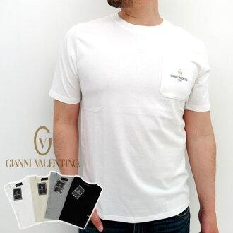 詹尼華倫天奴 T 襯衫短袖男裝口袋刺繡 [丸固體品牌詹尼華倫天奴休閒運動簡單黑色和白色 XL LL VA