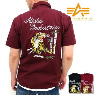 阿爾法工業 / 阿爾法軍事襯衫男式老虎刺繡
