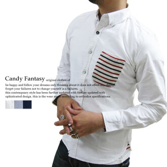 """有Candy Fantasy~牛津材料~""""边缘""""花纹转换三色旗带子的长袖子按钮降低衬衫[漂亮的me糖果舵边缘大音阶第四音]"""