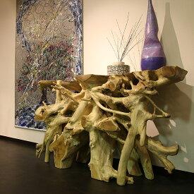 チーク コンソールテーブル 古材 オブジェ 幅130 高さ77cm [ 壁寄せ インテリア 天然木 木の根 ]【送料無料】【代引不可】