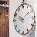 壁掛け時計 電波時計 Visse(フィッセ)掛け時計 おしゃれ 北欧 かわいい 木製 掛時計 ウォールクロック 数字とフレー…