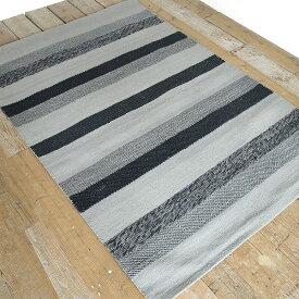 ラグ ラグマット 160×230 絨毯 2畳 ウール コットン ボーダー 【送料無料】【在庫限り】【●】