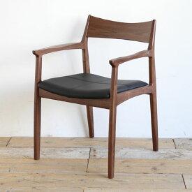 オーウェン ダイニングチェア ウォールナット レザー ブラック 肘付き アームチェア 木製 イス 椅子 チェアNO WHERE LIKE HOME(ノーウェアライクホーム)【送料無料】【在庫あり】【あす楽対応】