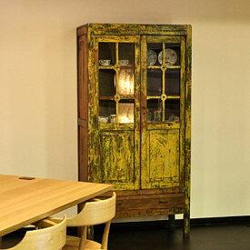 【展示品】カップボード アンティーク 食器棚 黄 幅90 完成品 【限定1台】【送料無料】【配送設置・送料無料】